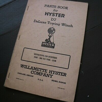 Hyster D7 Tractor Towing Winch Owner Operator Parts Manual Book Crawler Book