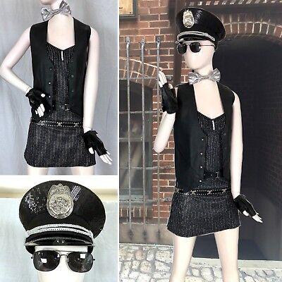 8 PC Sexy Cop POLICE OFFICER Costume Set Leather Vest SEQUIN HAT Dress AVIATORS