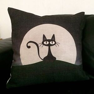 NEW High Quality Fabric Square Cushion Cover w Black Cat Print RRP $30 North Melbourne Melbourne City Preview