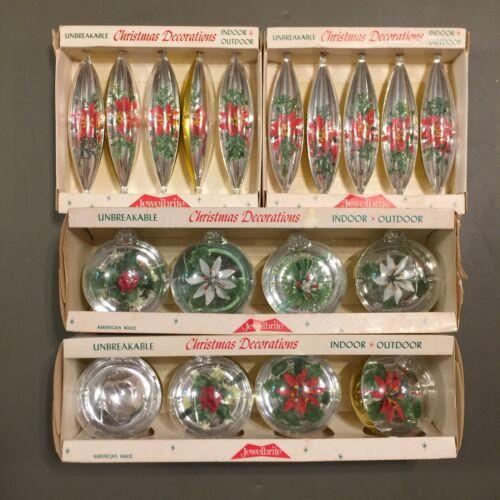 4 BOXES VINTAGE JewelBrite Unbreakable DIORAMA Ornaments POINSETTIA CHRISTMAS