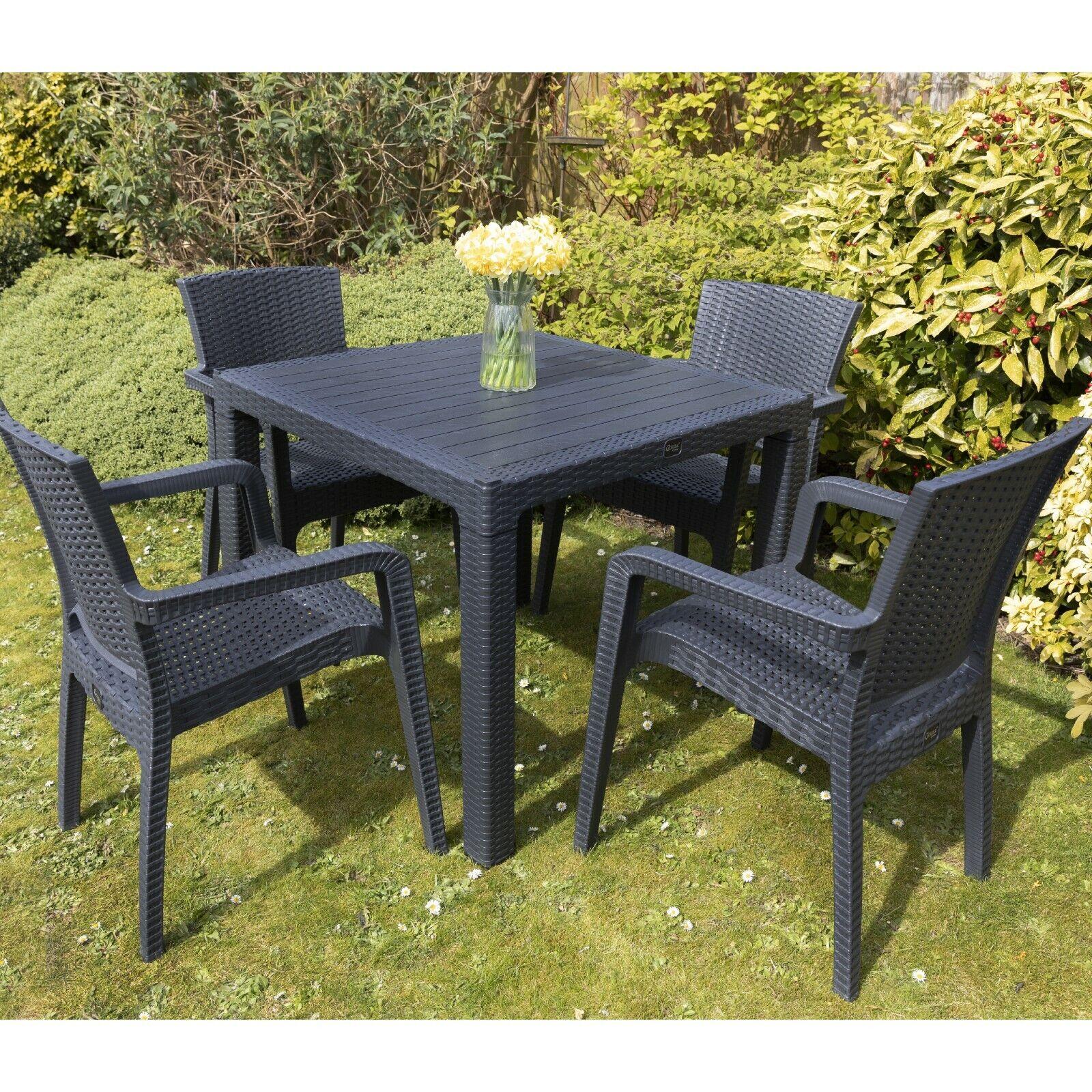 Garden Furniture - Garden Patio Furniture Set 4 Chairs Table Coffee Bistro Set Rattan Style Outdoor