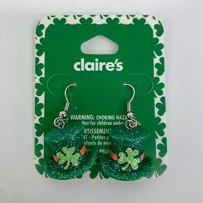 Claire's St Patricks Day Earrings Green Glitter Irish Top Hat with -