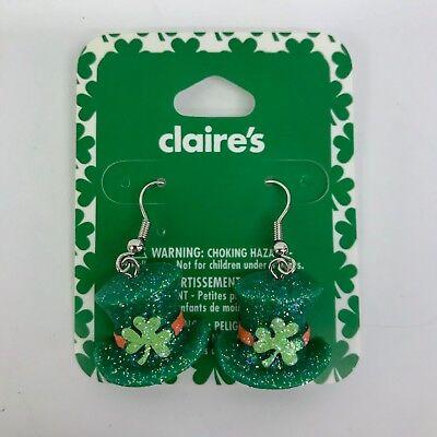 Claire's St Patricks Day Earrings Green Glitter Irish Top Hat with Shamrock - Glitter Shamrocks