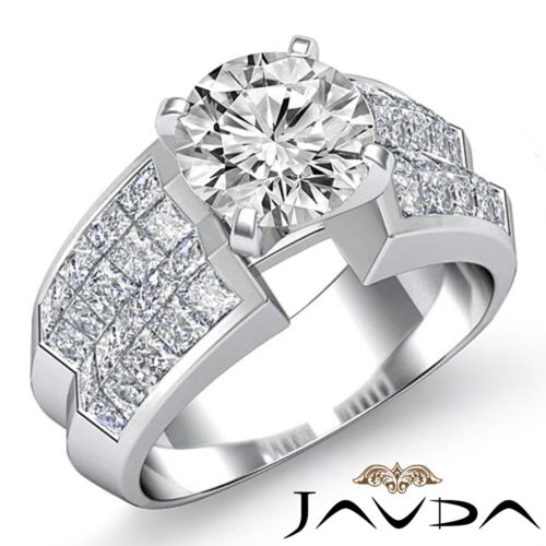Splendid Round Diamond Engagement Invisible Ring GIA F VS2 14k White Gold 3.22ct