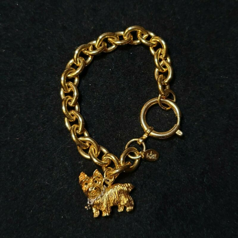 VINTAGE JOAN RIVERS COLLECTION YORKSHIRE TERRIOR FIGURINE CHARM BRACELET
