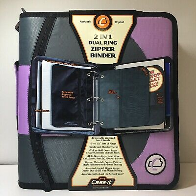 Case It Lavender Dual 100 2 Sets Of 1-12 Rings Multi Pouch Zipper Binder