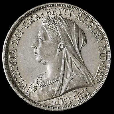 1893 Queen Victoria Veiled Head Silver LVI Crown – Near EF