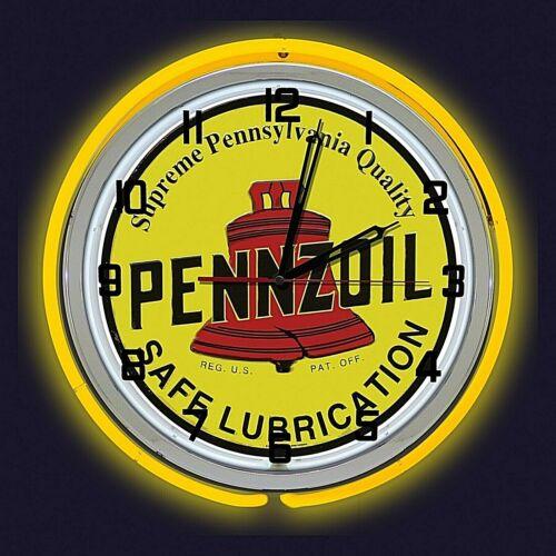 "19"" Pennzoil Safe Lubrication Sign Yellow Neon Clock Man Cave Garage Oil Shop"