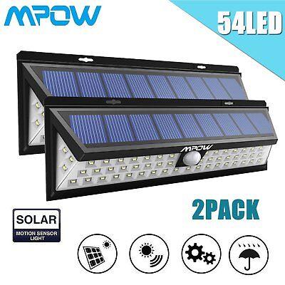 2X Mpow 54 LED Solar Light Powered Motion Sensor Security Wall Light Garden Lamp