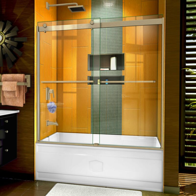 "DreamLine SHDR-6360602-04 Sapphire 56-60"" Semi-Frameless Tub Door Brushed Nickel"