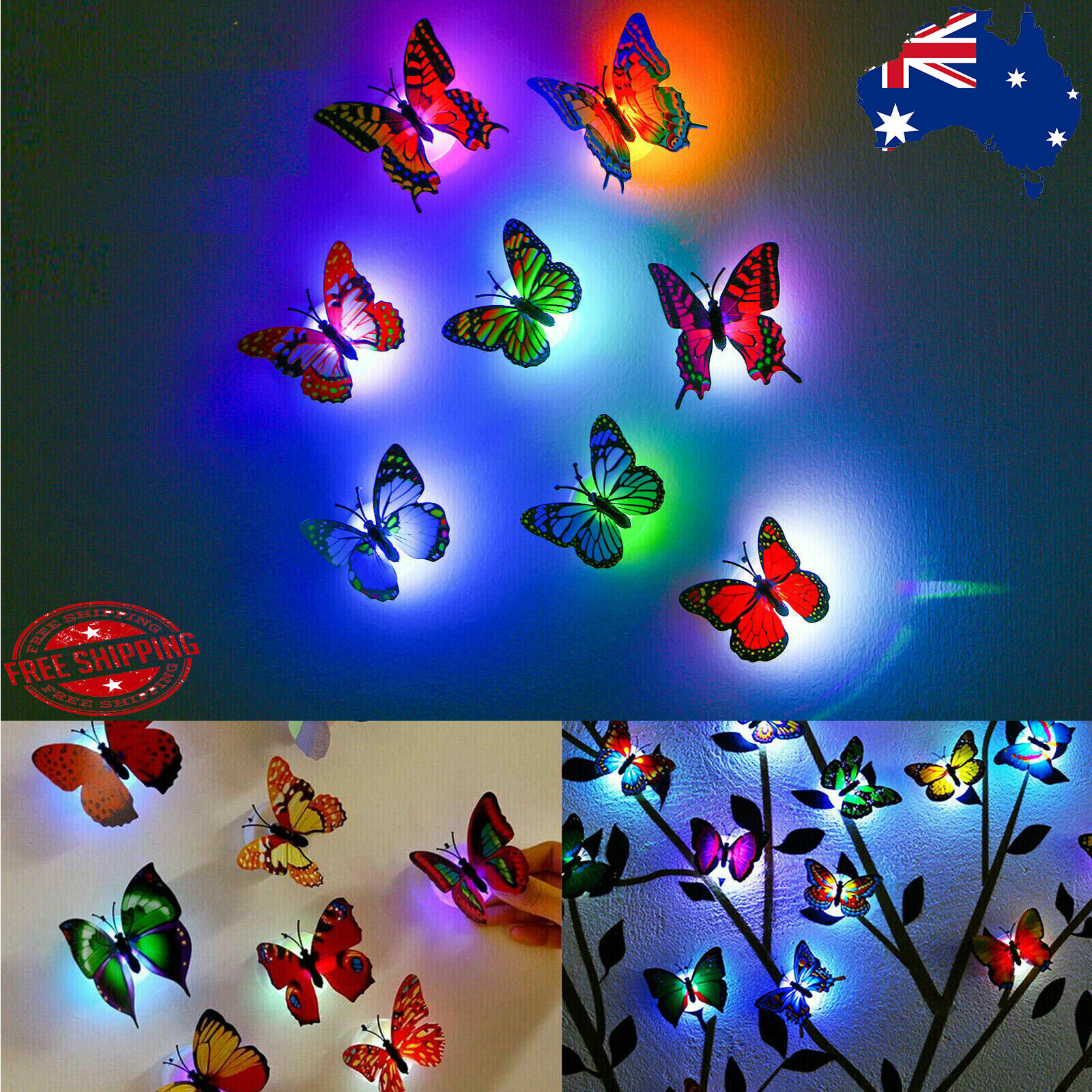 Home Decoration - 3DWall Sticker LED Butterfly Decoration Night Light Indoor Home Wall Decor Party
