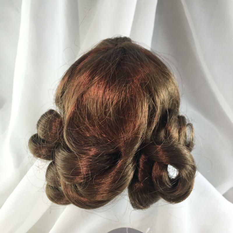 """7"""" Long Curls W/ Bangs Lt Brown Doll Wig Reborn OOAK BJD Repair M-75"""