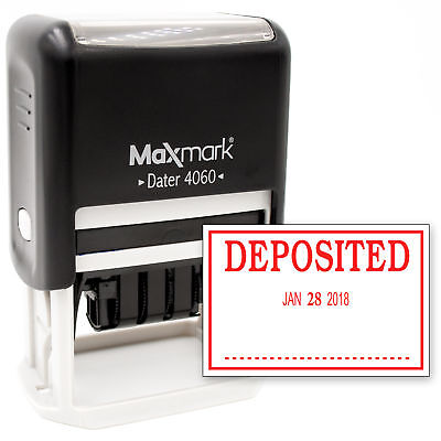Maxmark Large Date Stamp With Deposited Self Inking Date Stamp Large Size - Red