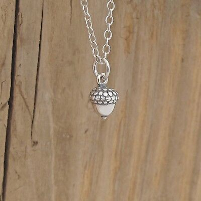 Sterling Silver Tiny Acorn Charm Lucky Pendant Necklace Oak Tree 925 Gift Boxed