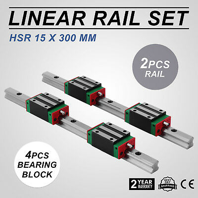 Cnc Set 15-300mm 2x Linear Guideway Rail 4x Square Type Carriage Bearing Block