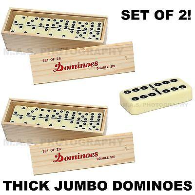 Set Of 2   Big Premium Jumbo Double Six Dominoes Domino Thick Wood Case