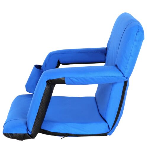 Portable 2 Pieces Blue Stadium Seat Gym Reclining Seat 5 Adjustable Positions Other Outdoor Sports