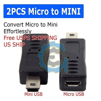 2x Micro USB Female to Mini USB Male Adapter Charger Converter Adaptor US (Mini Usb Male To Mini Usb Female)