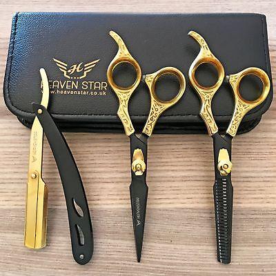 "Professional Barber Hairdressing Scissors Set 6.5"" THE GOLD BLACK & RAZOR Kit"