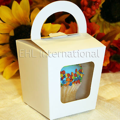 White Favor Boxes (25 50 100 White Cupcake Muffin Boxes Party Shower Favor Gift Container 3x3x3 )