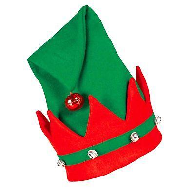 lfen Hut mit Glocken, Weihnachten Rot Grün Kostüm Zubehör (Santa Hut Mit Glocken)
