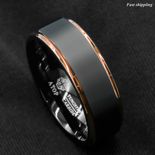 Tungsten Carbide Ring Rose Gold Black Brushed Wedding Band Ring Men