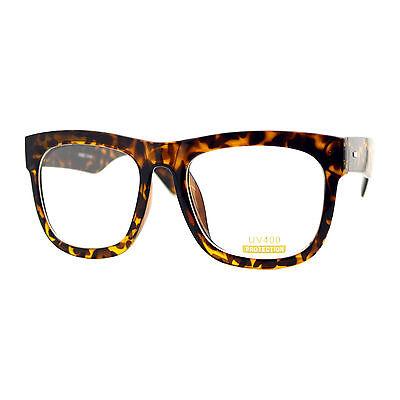 Tortoise Oversized Square Glasses Thick Horn Rim Clear Lens (Rim Horn Glasses)