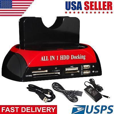 "HDD Docking Station 2.5""3.5"" IDE SATA Dual USB 2.0 Clone Hard Drive Card Reader"