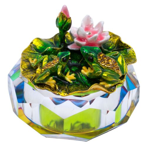 "Bejeweled Enameled Metal Frogs Glass Trinket Box With Crystals 3"" Wide New!"