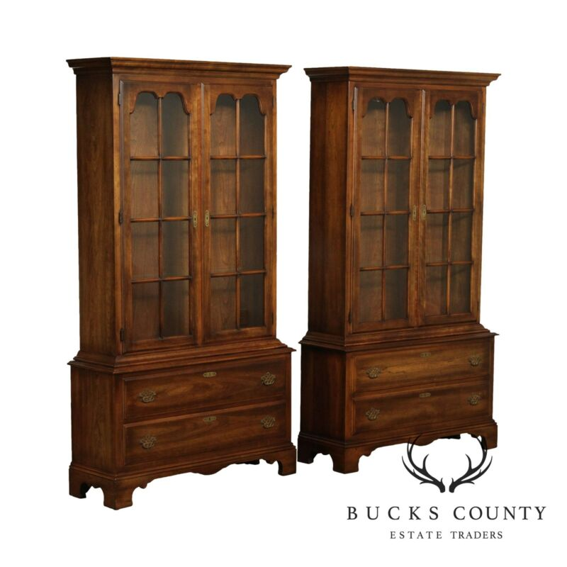 Statton Pair of Vintage Cherry Display Cabinets, Bookcases