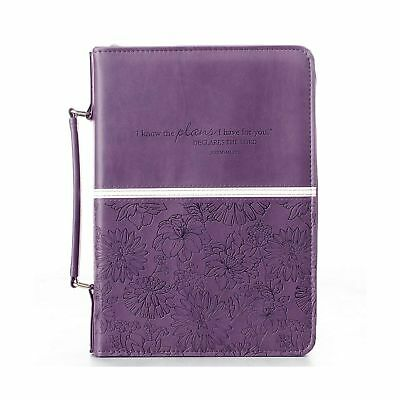 Floral Embossed Bible / Book Cover - Jeremiah 29:11 (Large, Purple) Large