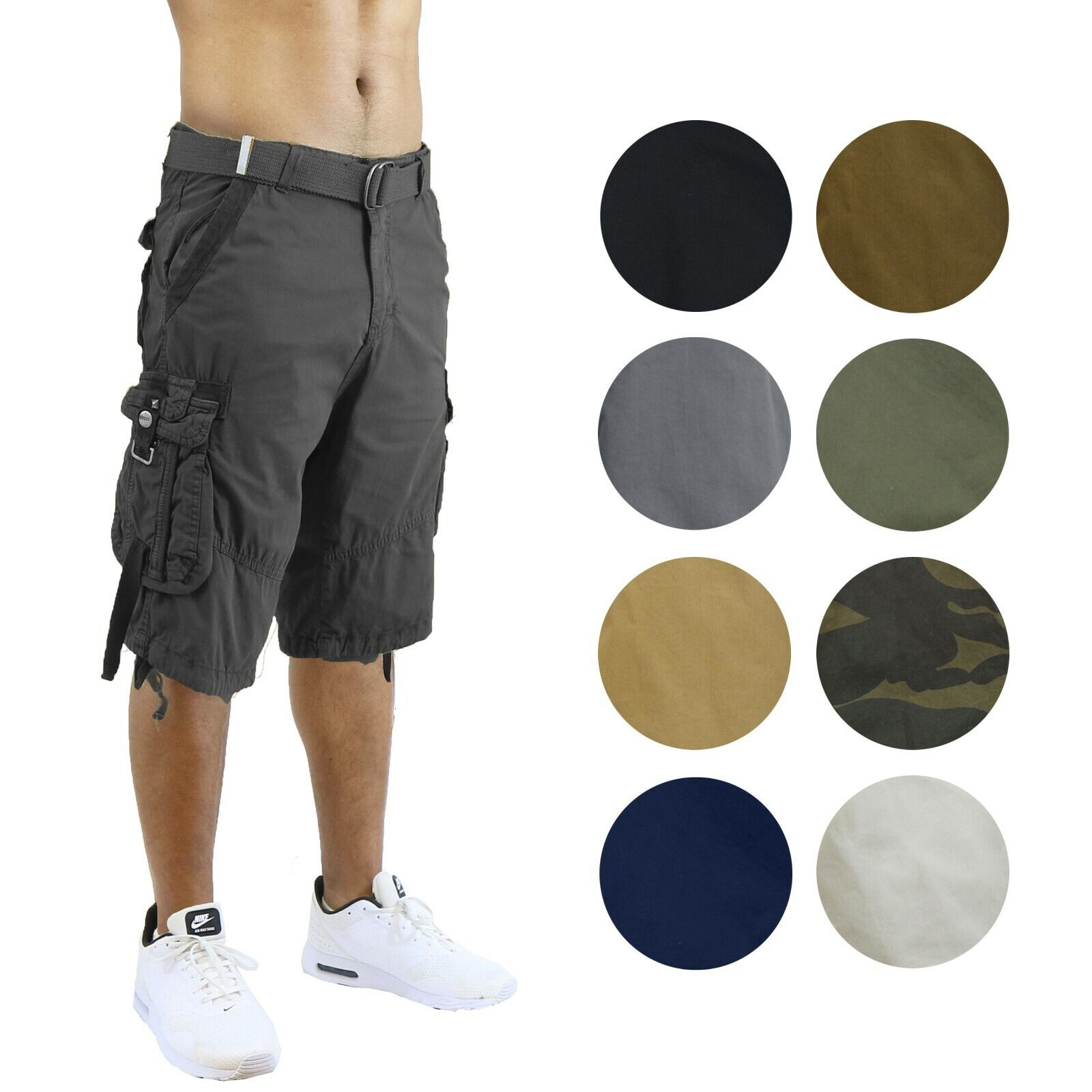 Mens Cotton Cargo Shorts Utility Belted Pockets Colors Washed Lounge Hiking NEW Clothing, Shoes & Accessories