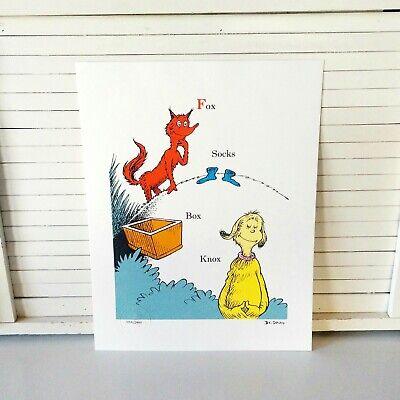 Dr Seuss Signs (Dr Seuss Lithograph Fox in Socks Certificate of Authenticity Limited Edition)