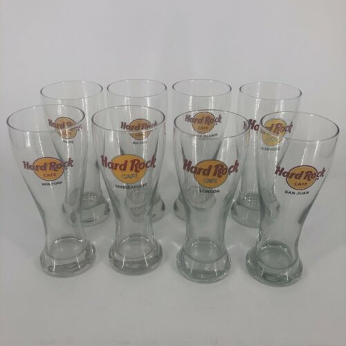 """Hard Rock Cafe Clear Beer Pilsner Glass 8.5"""" Tall 20 oz YOU PICK THE CITY"""