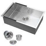 """Commercial Stainless Steel Top Mount Kitchen Sink 18 Gauge Single Bowl 28""""x18"""""""