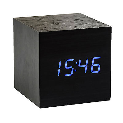 BLUE Wood Cube LED Alarm Control Digital Desk Clock Wooden Room Temperature UK