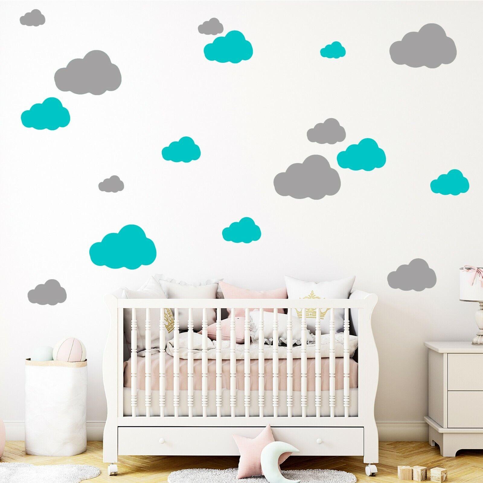 50 Wolken zweifarbig Wandtattoo Aufkleber Sticker Wanddeko fürs Kinderzimmer
