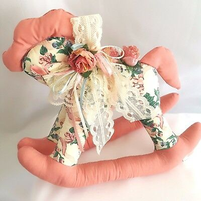 Christmas Floral Print Stuffed Rocking Horse Victorian Shabby Chic Pink Roses