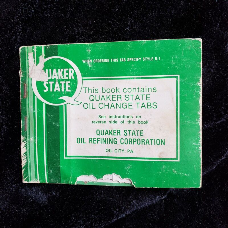 Vintage Quaker State Oil Change Tabs Stickers Service Record Book Style R-1