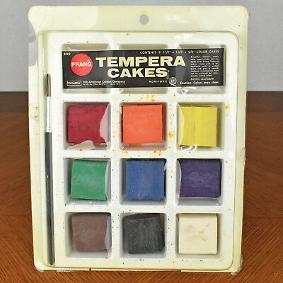 Prang Aquarell Set (Vintage Prang Tempera Cakes Water Colors Paint Set No 809 MADE IN USA)