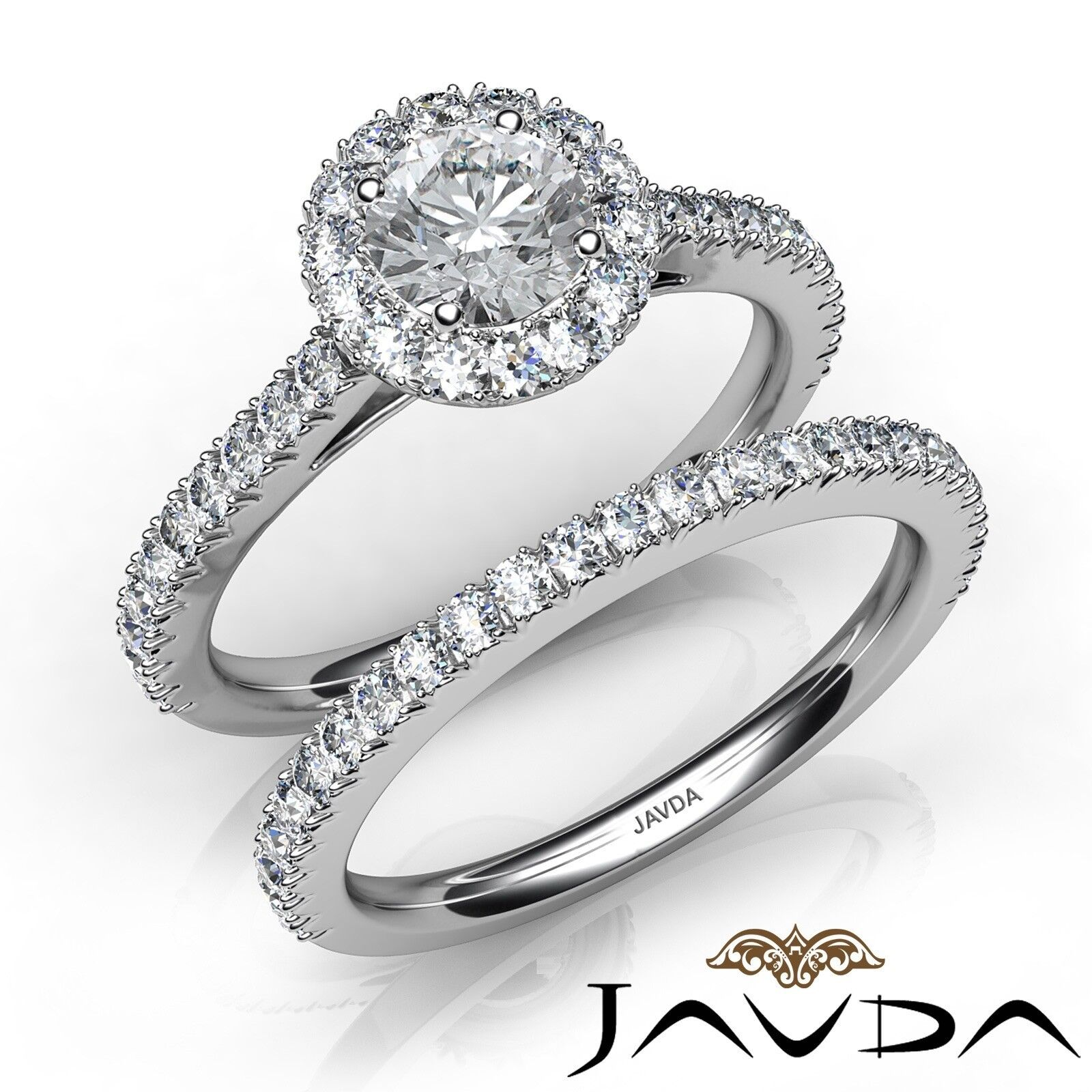 1.95ctw French Pave Shank Bridal Round Diamond Engagement Ring GIA F-VS1 W Gold