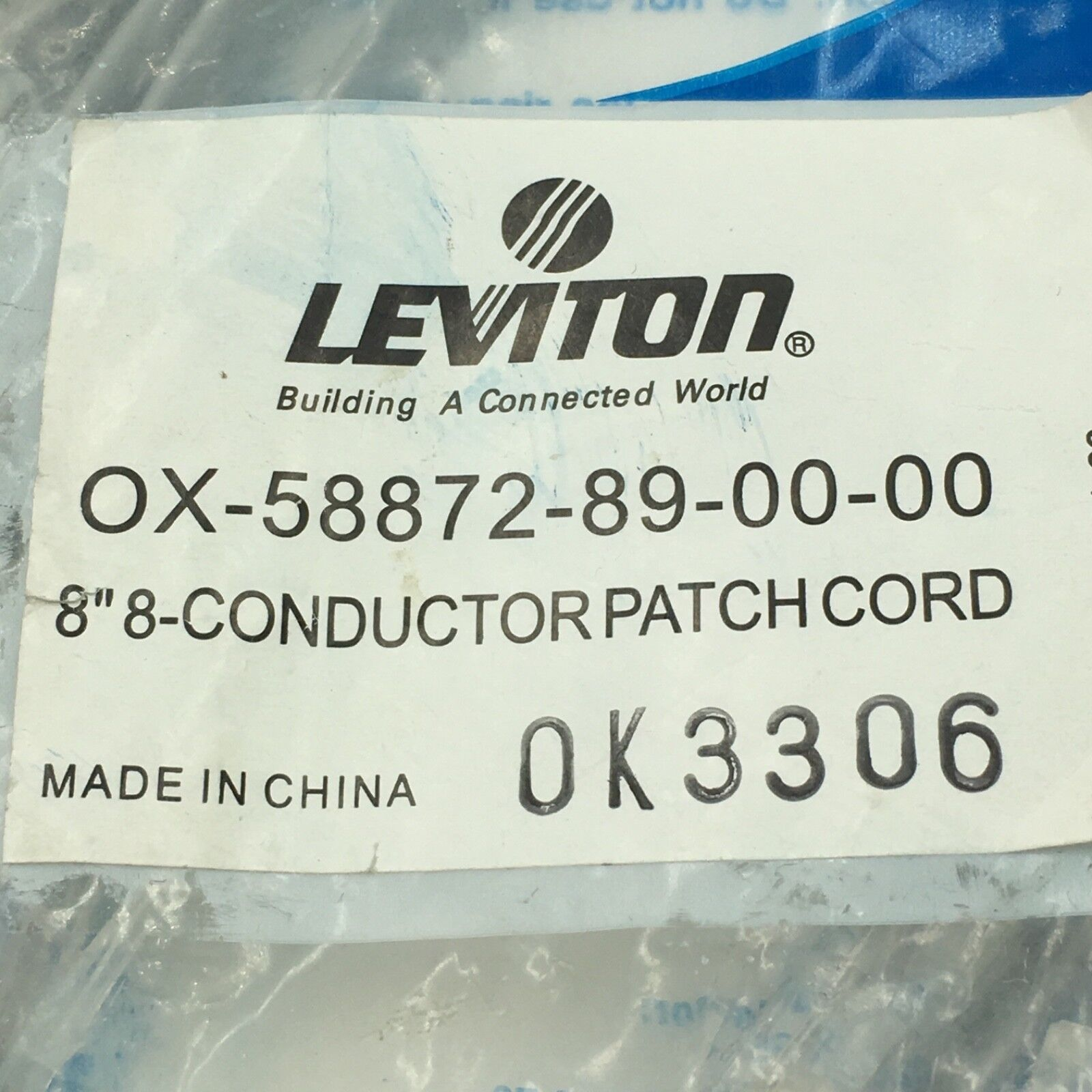 leviton 0x 58872 89 00 00 8 8 conductor patch cord ok3306 nip only 1 left