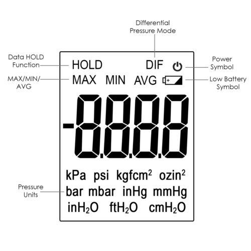 professional digital manometer air vacuum    gas pressure