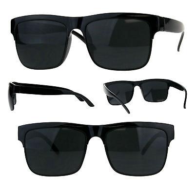 Mens All Black Half Horn Rim Rectangular Hipster Plastic (All Plastic Sunglasses)