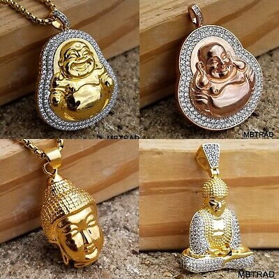 Gold Plated Green JADE Pendant Buddha Necklace Lab Diamond with chain (Jade Pendant Chain)