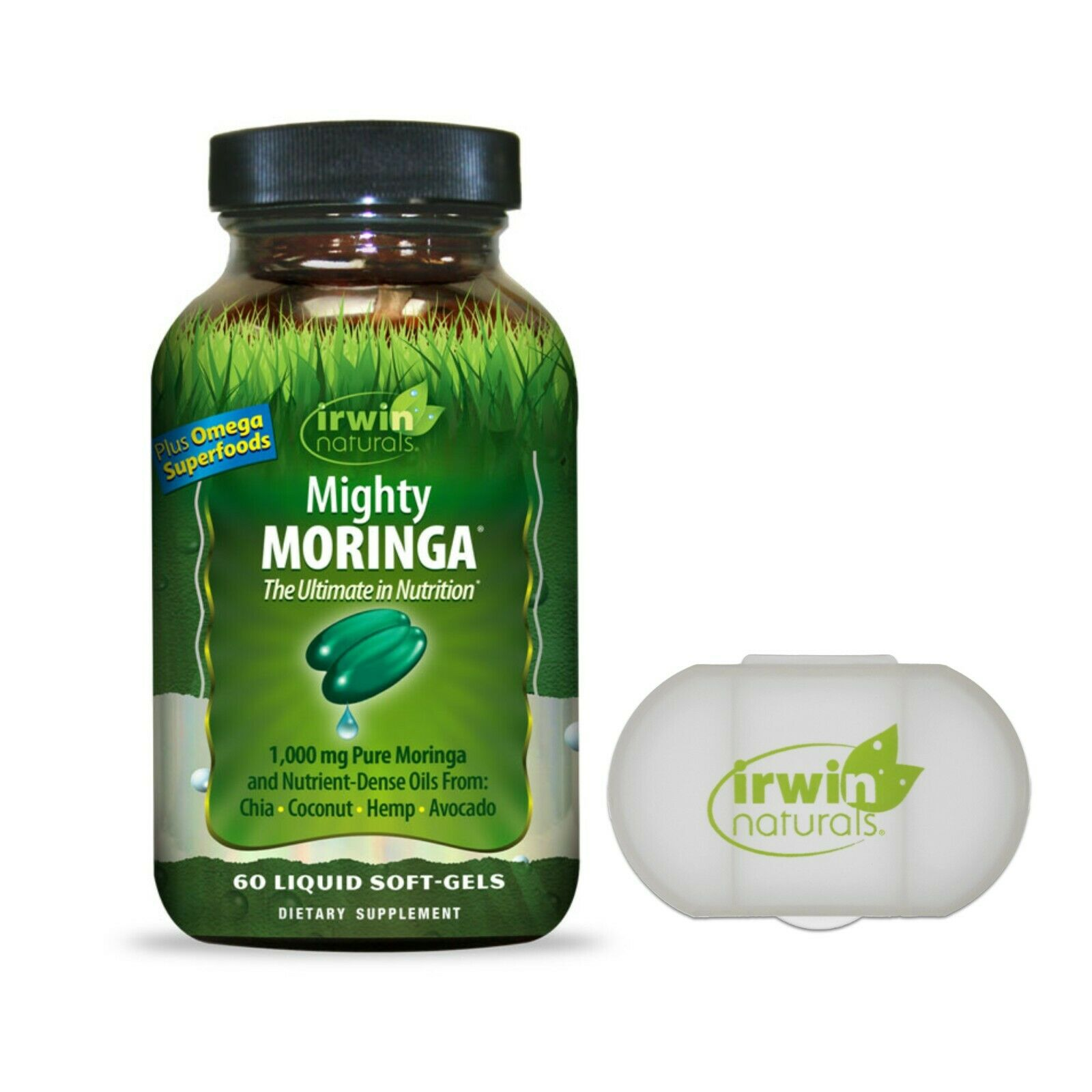 Irwin Naturals Mighty Moringa 1000mg with Omega Superfoods and Pill Case