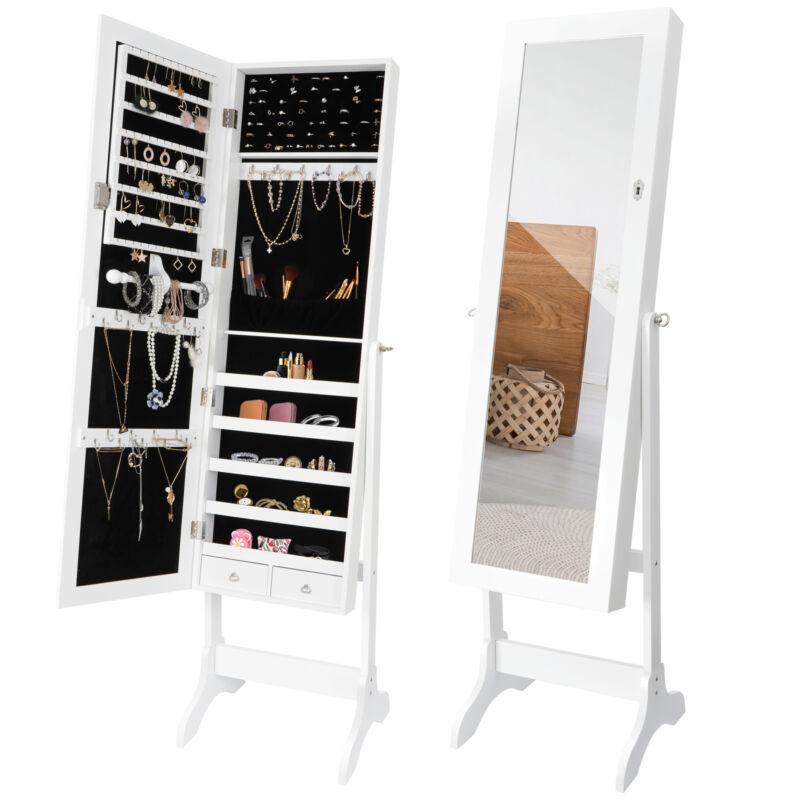 Full Length Mirror Jewelry Cabinet Free Standing Armoire Storage Organizer White