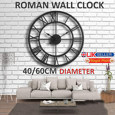 Large Outdoor Garden Wall Clock Roman Large Numeral 40 60CM Round Face Black