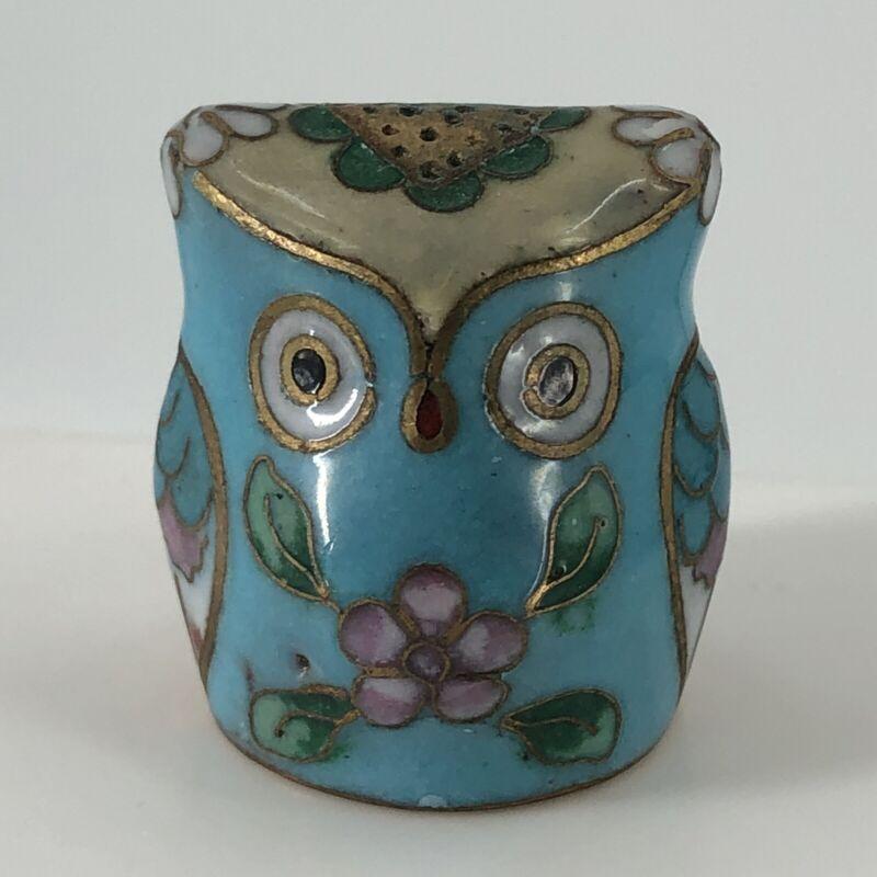 Blue Owl Shaped Enamel Over Brass Cloisonne Style Thimble