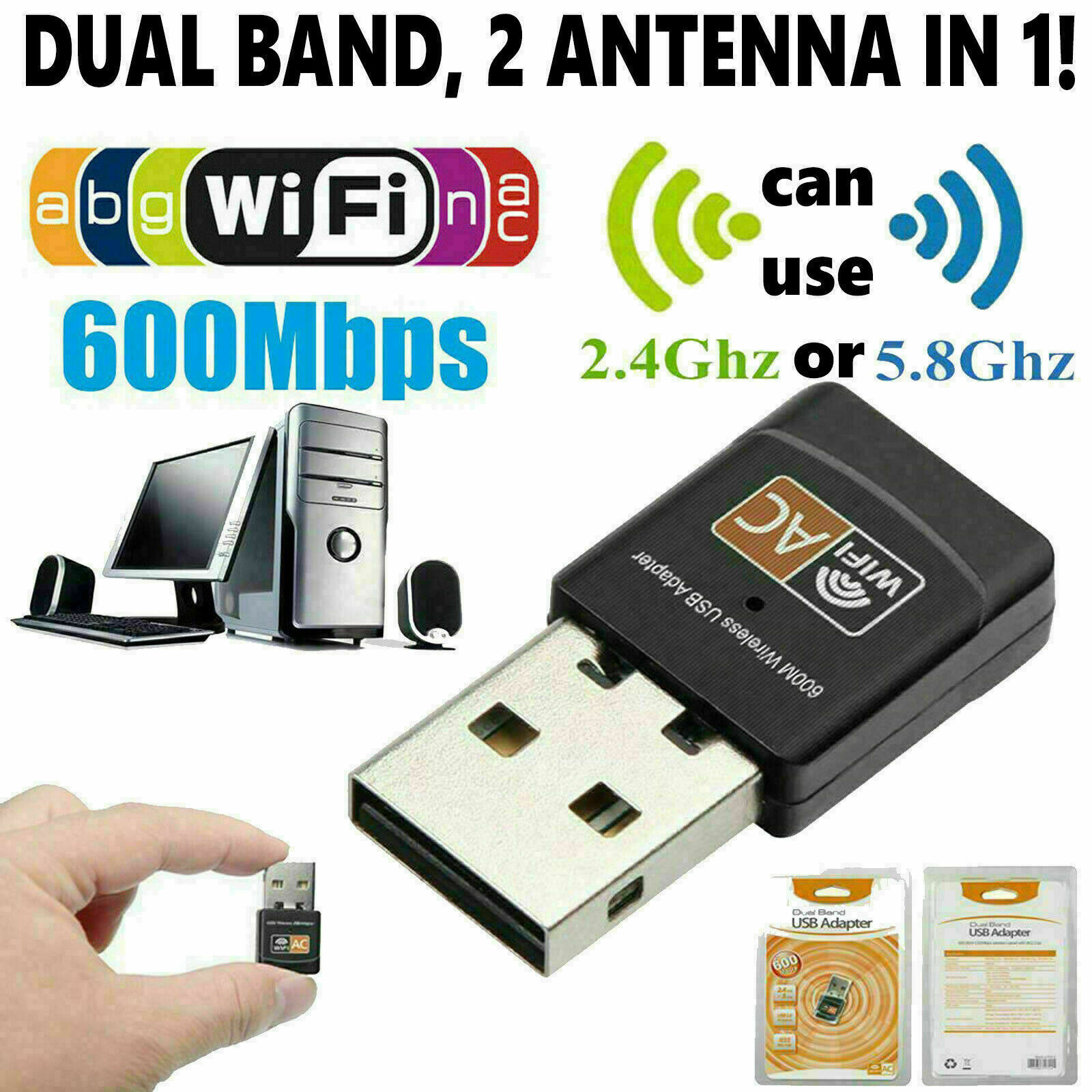 Mini Dual Band 600Mbps USB WiFi Wireless Adapter Network Car